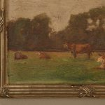 Original Antique French Oil Painting Cattle Newer Custom Frame