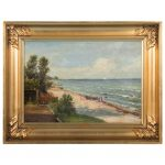 Original Century Antique Danish Seascape Oil Painting Signed Raedel Sale