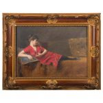 Original Century Antique Oil Painting Portrait Reclining Lady Red Sale