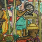 Original Haitian Genre Oil Painting Alix Roy Women Working Socializing