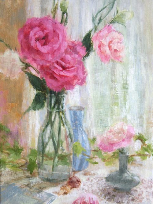 Original Oil Painting Flowers Floral Still Life Pink