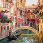 Original Oil Painting Landscape Venice Italy