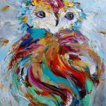 Original Owl Painting Palette Knife Impressionism