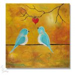 Original Painting Love Birds Bird