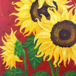 Original Painting Sunflowers Red Acrylic