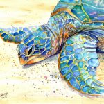 Original Sea Turtle Watercolor Painting Kauai Art