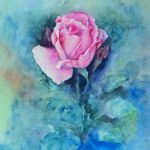Original Watercolor Painting Pink Rose