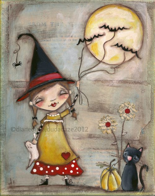 Orignal Folk Art Whimsical Halloween Painting