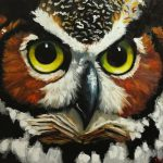 Owl Painting Inch Original Oil