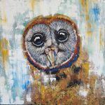 Owl Painting Original Oil Stretched Canvas Shairoseart