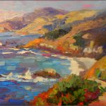 Paint Dance Pacific Blues Oil Panel Paintings Big Sur