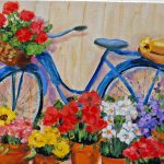 Painted Garden Painting Blue Vintage