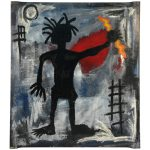 Painting Figure Manner Artist Jean Michel Basquiat Sale