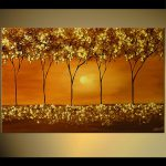 Painting Sale Textured Trees Gold Home