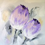 Paintings Oil Painting Purple Flowers Modern Art Sold