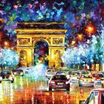 Paris Flight Palette Knife Oil Painting Canvas Abstract Art Leonid