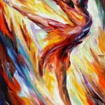 Passion Fire Palette Knife Oil Painting Canvas Leonid
