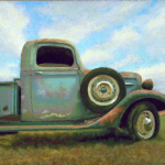 Pastel Painting Old Pickup Truck