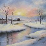 Peaceful Winter Original Oil Painting Barns Country Snowscene River
