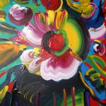 Peter Max Vase Flowers Acrylic Painting Canvas Sale