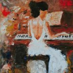 Pianist Abstract Impressionism Music Piano Figure Oil Painting Laura