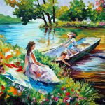 Picnic Palette Knife Oil Painting Canvas Leonid