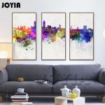 Piece Abstract City Skyline Watercolor Cityscape Map Silhouette Wall Art