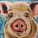 Pig Print Colorful Art Original Painting Signed Artist