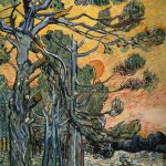 Pine Trees Sunset Painting Vincent Van