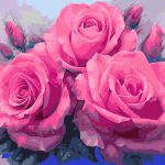 Pink Roses Diy Oil Painting Numbers Paint Number Kits