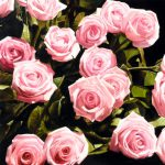 Pink Roses Leaves Painting Thomas