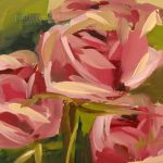 Pink Roses Painting Angela Moulton