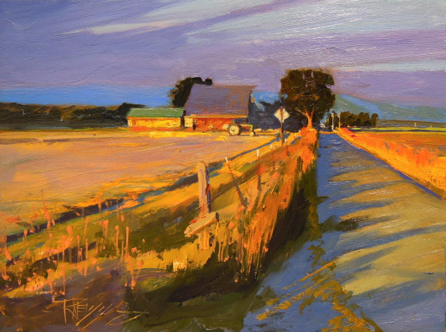 Plein Air Evening Glow Skagit County Oil Landscape Painting Robin