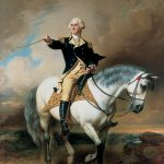 Portrait George Washington Taking Salute Trenton Painting John