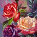 Pretty Multi Colored Rose Painting Paintings Pinterest