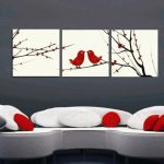 Printed Flower Canvas Art Stretched Frame Set Wall