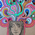 Psychedelic Dreaming Thinking Girl Art Print Surreal