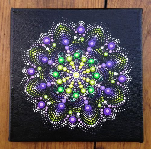 Purple Green Dotart Mandala Painting Canvas Acrylic