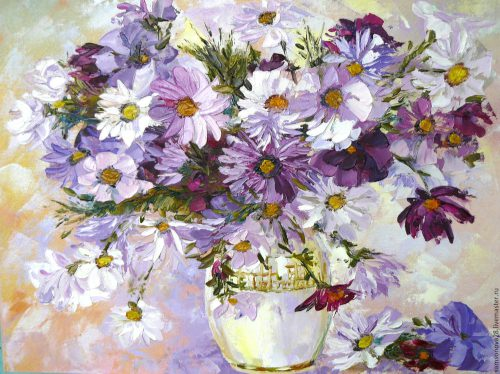 Purple Haze Bouquet Flowers Oil Painting Palette Knife Shop