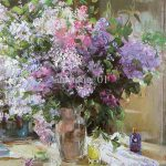 Purple White Flowers Oil Painting Handmade Home Decorative Wall Art
