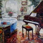 Quality Hand Painted Oil Painting Grand Piano Living Room