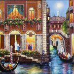 Quality Hand Painted Oil Painting Venice Waterway Gondolas
