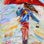 Rain Dance Red Umbrella Painting Karen