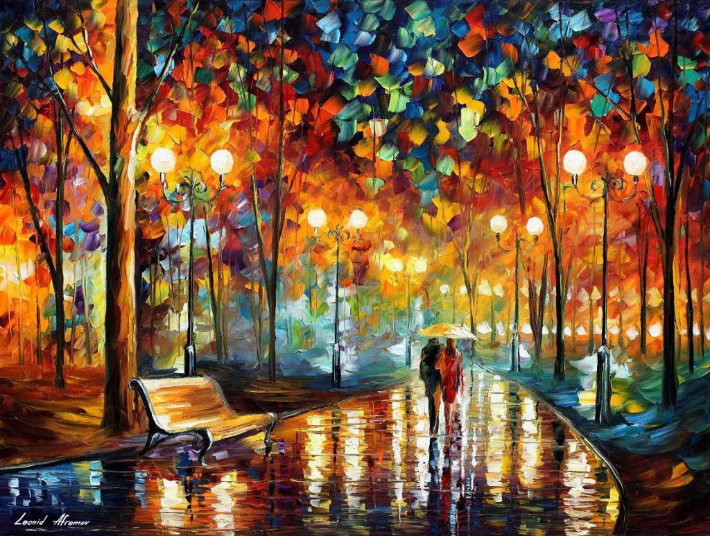 Rain Rustle Park Palette Knife Oil Painting Canvas Leonid