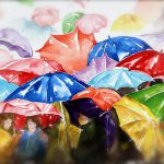Raining Umbrellas Painting Peg Ott