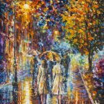 Rainy Evening Palette Knife Oil Painting Canvas Leonid