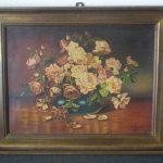 Rare Antique Large Framed Oil Painting Canvas Roses Signed Loesch