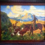 Rare Vintage Folk Art Oil Painting Cattle Drive Real Western Look