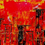 Red Cityscape Abstract Painting Fine Art Print Laura