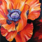 Red Poppy Flower Heart Marco Painting